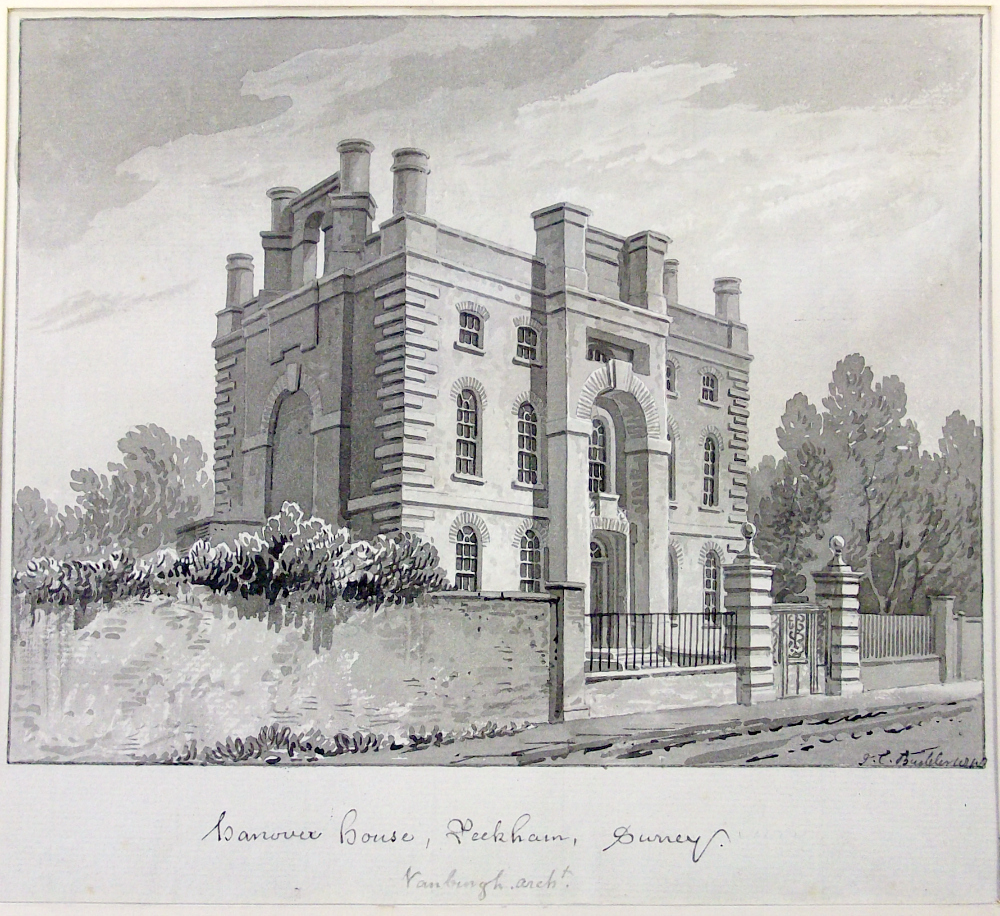Hanover House, copy of watercolour from Lambeth Archives