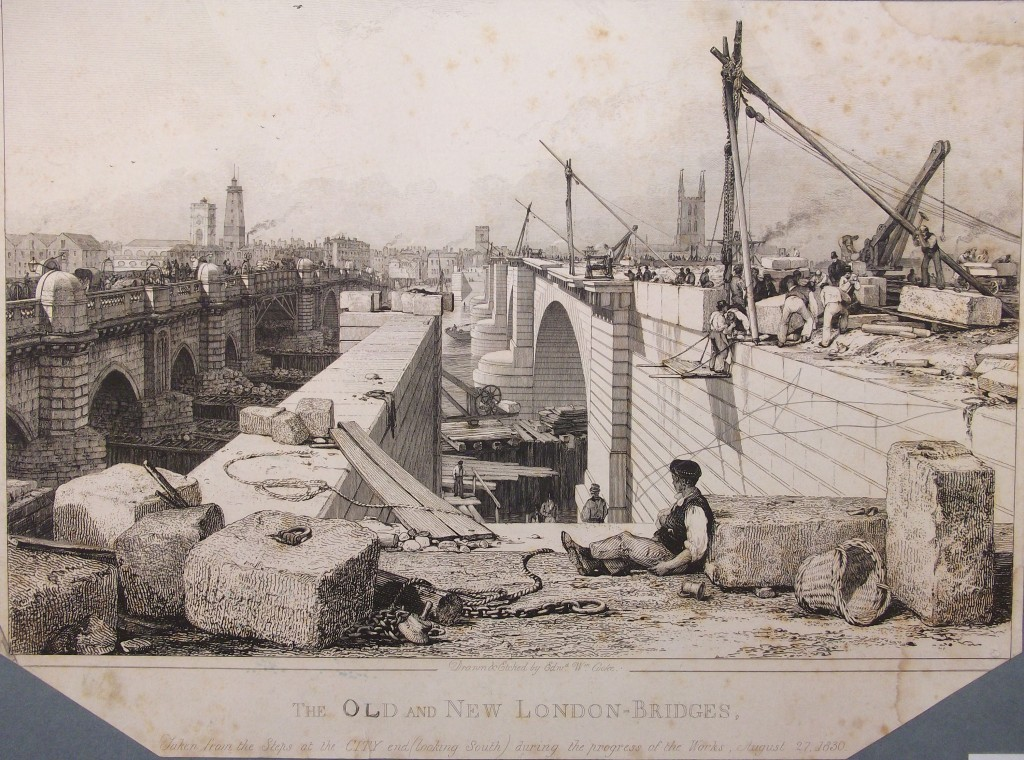 The new London Bridge being built next to the old one, from the City end, 1830. Because it was an important route across the river, it could not just be demolished for rebuilding.